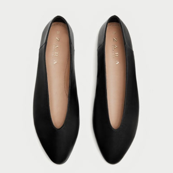 8fadd005038a2 NWOT Zara Black V-cut Leather Ballerina Flats 38. M_5abeb696a4c4857745275dc7